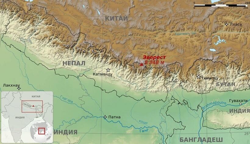 Расположение Эвереста на карте мира