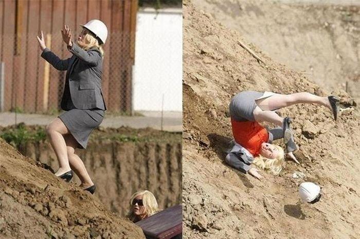 на женщину упал мешок с цементом