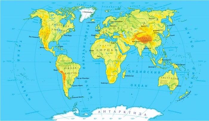 Самый большой океан на карте