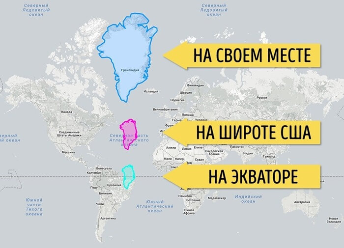 Размер Гренландии, помещенной на экватор
