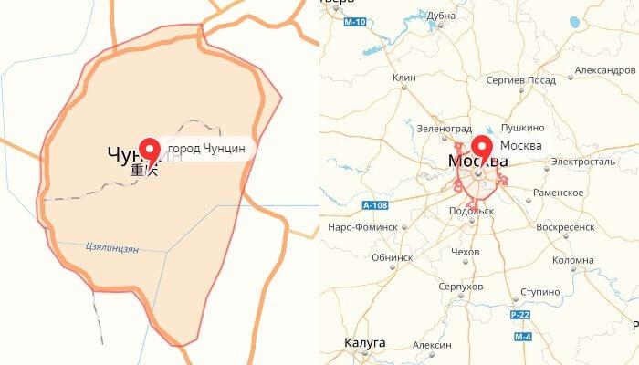 Чунцин-Москва сравнение площади на карте