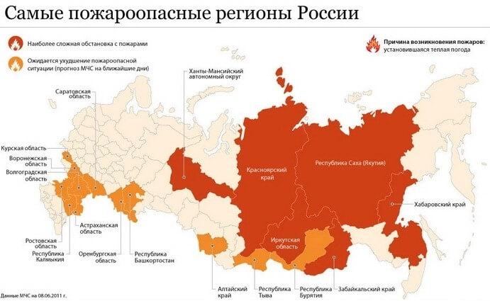 Карта самых пожароопасных регионов России