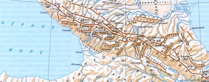 Большой Кавказский хребет на карте России