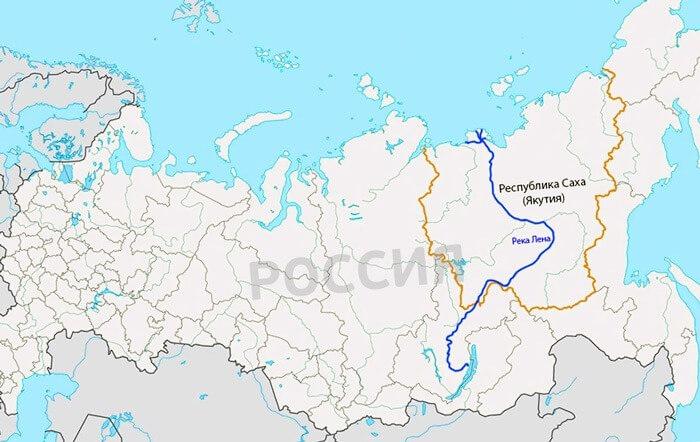 Река Лена на карте России