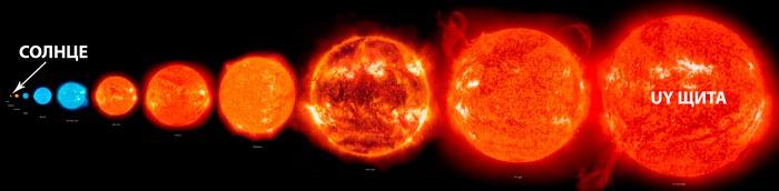 UY Щита по сравнению с Солнцем