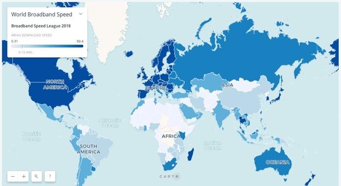 Скорости интернет-соединения в мире