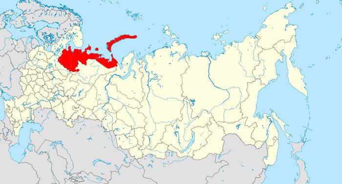 Архангельская область на карте
