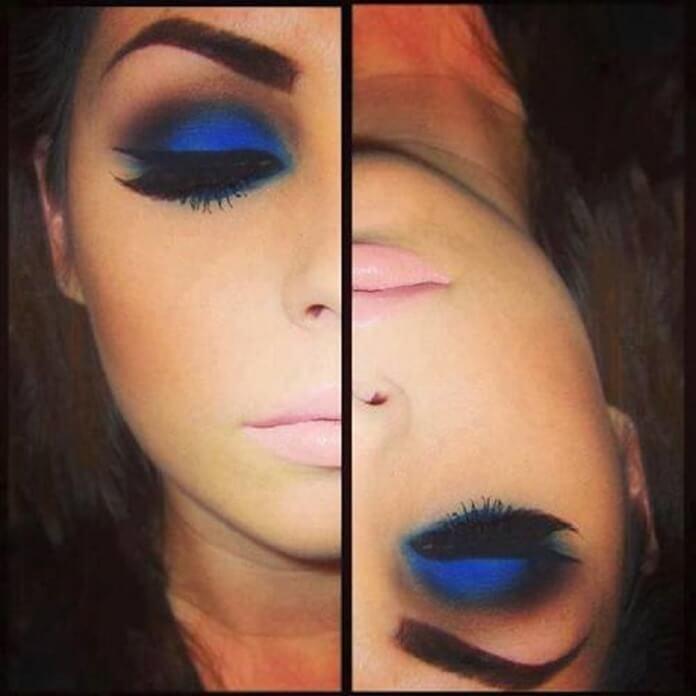Темно-синий макияж