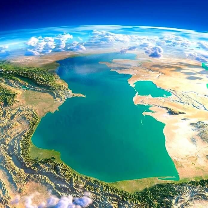 Каспийское море карта из космоса