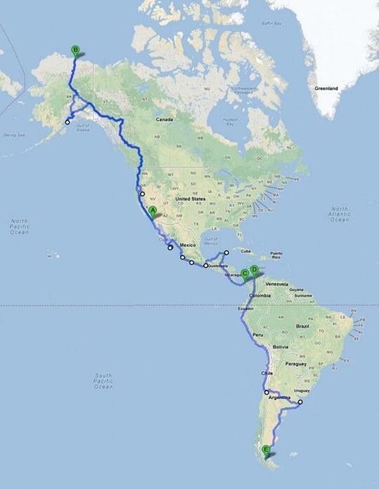 Панамериканское шоссе на карте