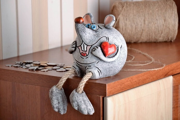 Мышка-копилка, новогодний сувенир 2020