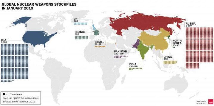 Страны обладающие ядерным оружием, ядерные державы на карте мира мира 2021