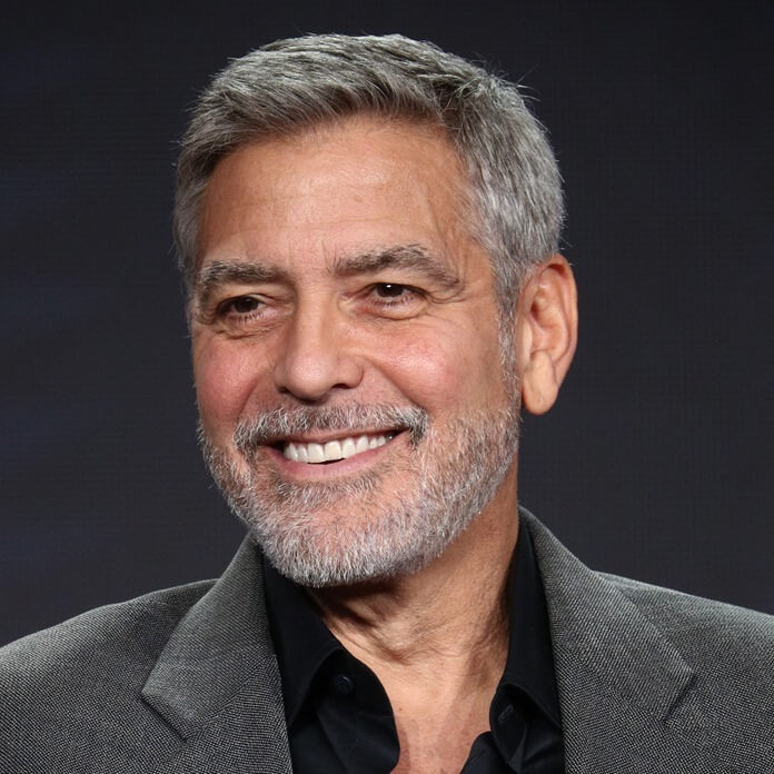 "PASADENA, CALIFORNIA - FEBRUARY 11: George Clooney of the television show ""Catch 22"" speaks during the Hulu segment of the 2019 Winter Television Critics Association Press Tour at The Langham Huntington, Pasadena on February 11, 2019 in Pasadena, California. (Photo by Frederick M. Brown/Getty Images)"