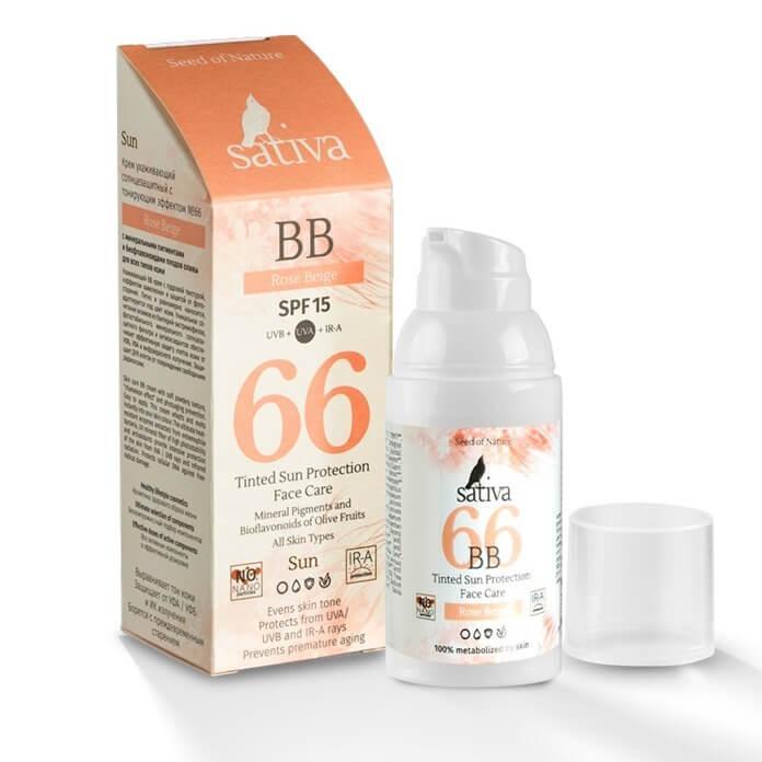 Крем SATIVA ухаживающий солнцезащитный с тонирующим эффектом SPF 15