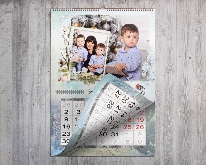 Календарь с семейными фотографиями своими руками маме на Новый год