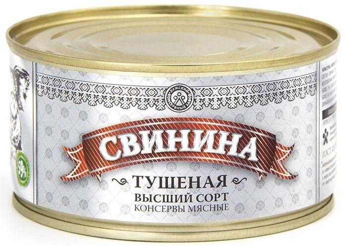Свинина тушеная, высший сорт, «Лужский консервный завод», рейтинг 3.65